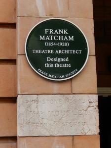 Richmond Theatre' Matcham plaque and Foundation Stone